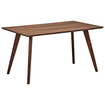 Prime Rivet Mid Century Modern Minimalist Dining Kitchen Table 53 1W Walnut Wood Home Interior And Landscaping Ologienasavecom