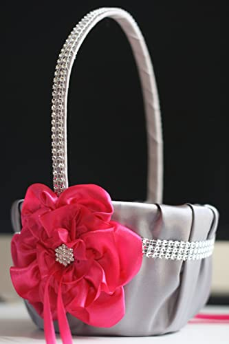 Amazon gray fuchsia flower girl basket gray fuchsia wedding gray fuchsia flower girl basket gray fuchsia wedding basket gray fuchsia wedding basket mightylinksfo