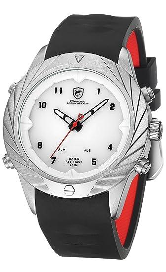 SHARK hombre Cuarzo relojes de pulseras silicona LED fecha día 24 horas Pantalla alarma SH580: Amazon.es: Relojes