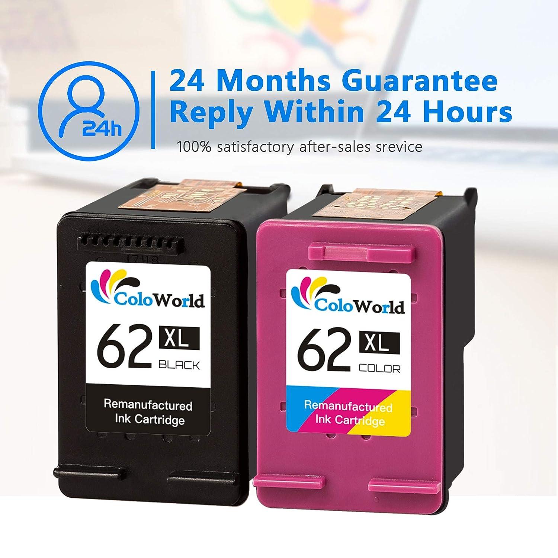 ColoWorld 62XL - Repuesto para Impresora HP 62XL OfficeJet 250 200 5740 5742 Envy 7640 5646 5540 5640 5545 5541 5544 (1 Negro, 1 Color)