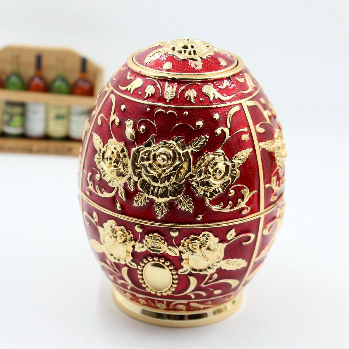 Enameled Faberge Egg Metal Toothpick Holder Shinny Gifts TXX001