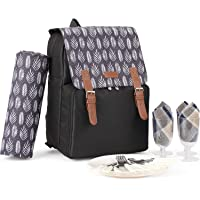 Large Capacity Insulated Picnic Backpack Bag for 4 Person with Cooler Compartment, Double-Side Waterproof Blanket, Plates and Cutlery Set Perfect for Outdoor, Sports, Hiking, Camping, BBQs (Black)