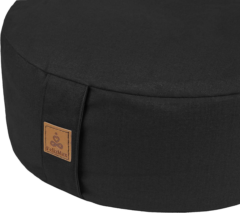 FelizMax Zafu Buckwheat Meditation Cushion, Round zabuton Meditation Pillow, Yoga Bolster, Floor Pouf, Zippered Organic Cotton Cover, Kneeling Pillow ...