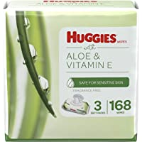 Baby Wipes, Huggies Aloe & Vitamin E, UNSCENTED, 3 Flip-Top Packs, 168 Count
