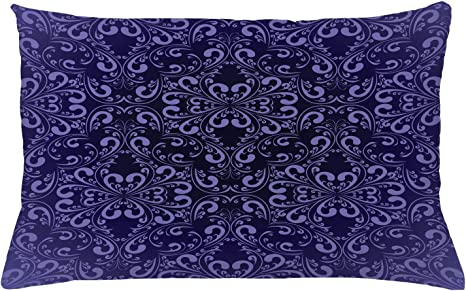 Ambesonne Vintage Throw Pillow Cushion Cover Floral Timeless Renaissance Themed Romantic And Royal Victorian Pattern Decorative Rectangle Accent Pillow Case 26 X 16 Lavender Dark Purple Home Kitchen