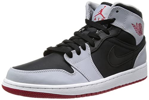 classic fit recognized brands low priced Jordan Nike Men's Air 1 Mid Black/Gym Red/Wolf Grey ...