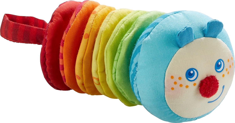 Haba Clatter Figure Caterpillar Mina, Baby rattles 6 Months, Cuddly Toy, 303192, Multicolour