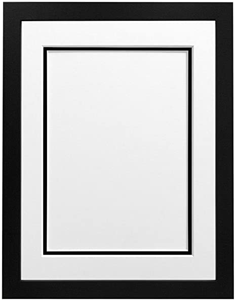 FRAMES BY POST H7 Picture Photo Frame, Wood, Black with White and ...