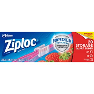 Ziploc Slider Storage Bags with New Power Shield Technology, For Food, Sandwich, Organization and More, Quart, 20 Count