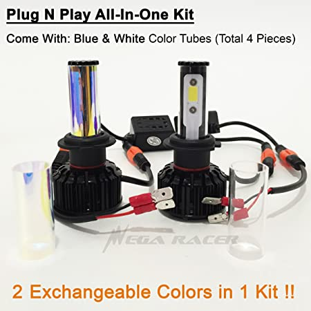 Amazon.com: Mega Racer (2 Colors in 1 Set) H7 10000K Blue 6000K White (High Beam Headlight) CREE COB LED Xenon Kit Kit 8000 Lumen 80W US: Automotive