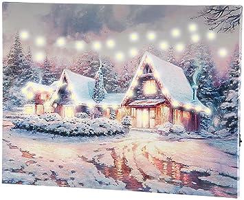 Weihnachtsbilder Mit Licht.Infactory Weihnachtsbild Wandbild Winterdorf Mit Led Beleuchtung 40 X 30 Cm Led Weihnachts Wandbilder