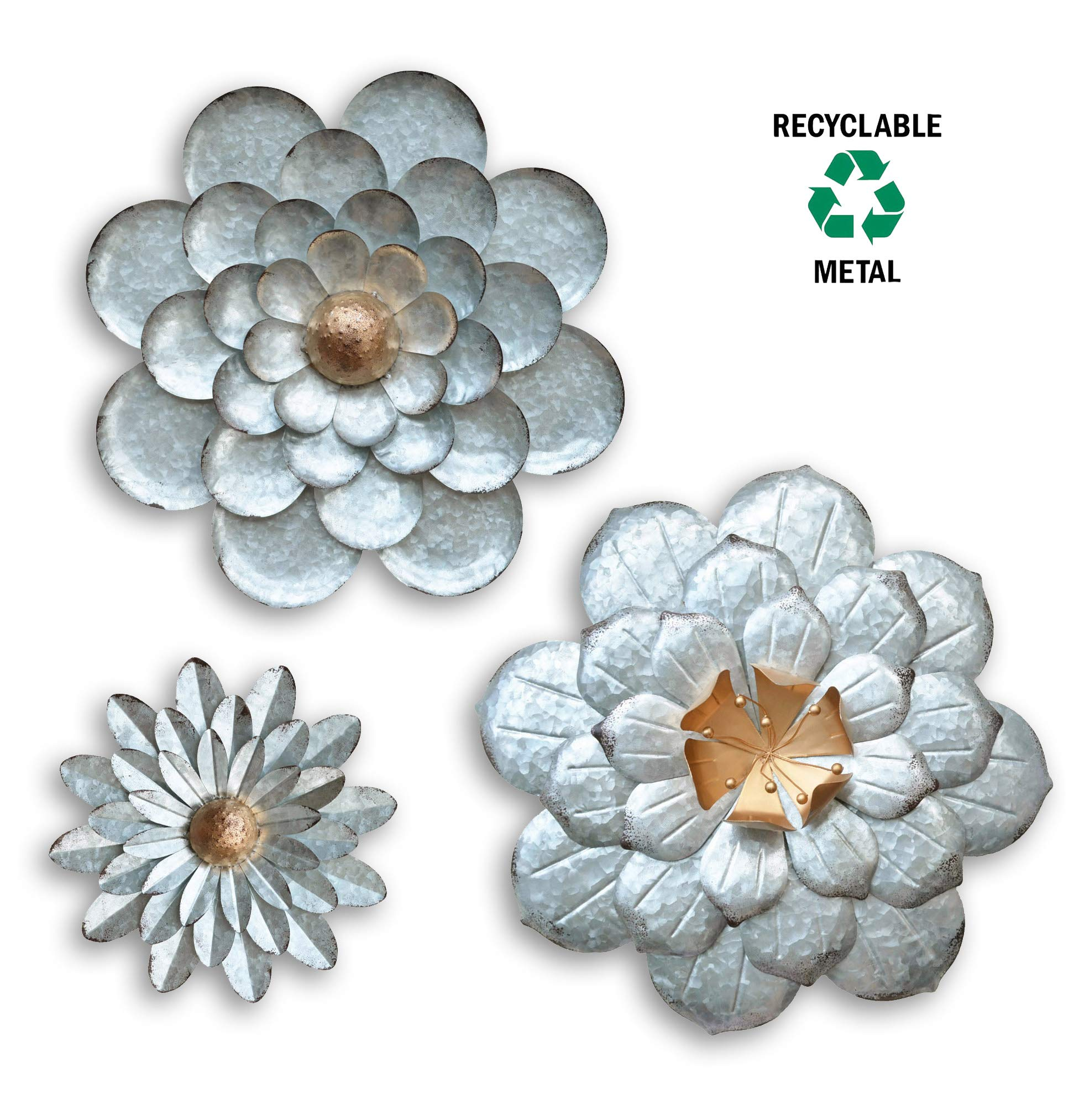 GIFTME 5 Galvanized Flowers Wall Decor Set of 3 Metal Flower Wall Art by GIFTME 5