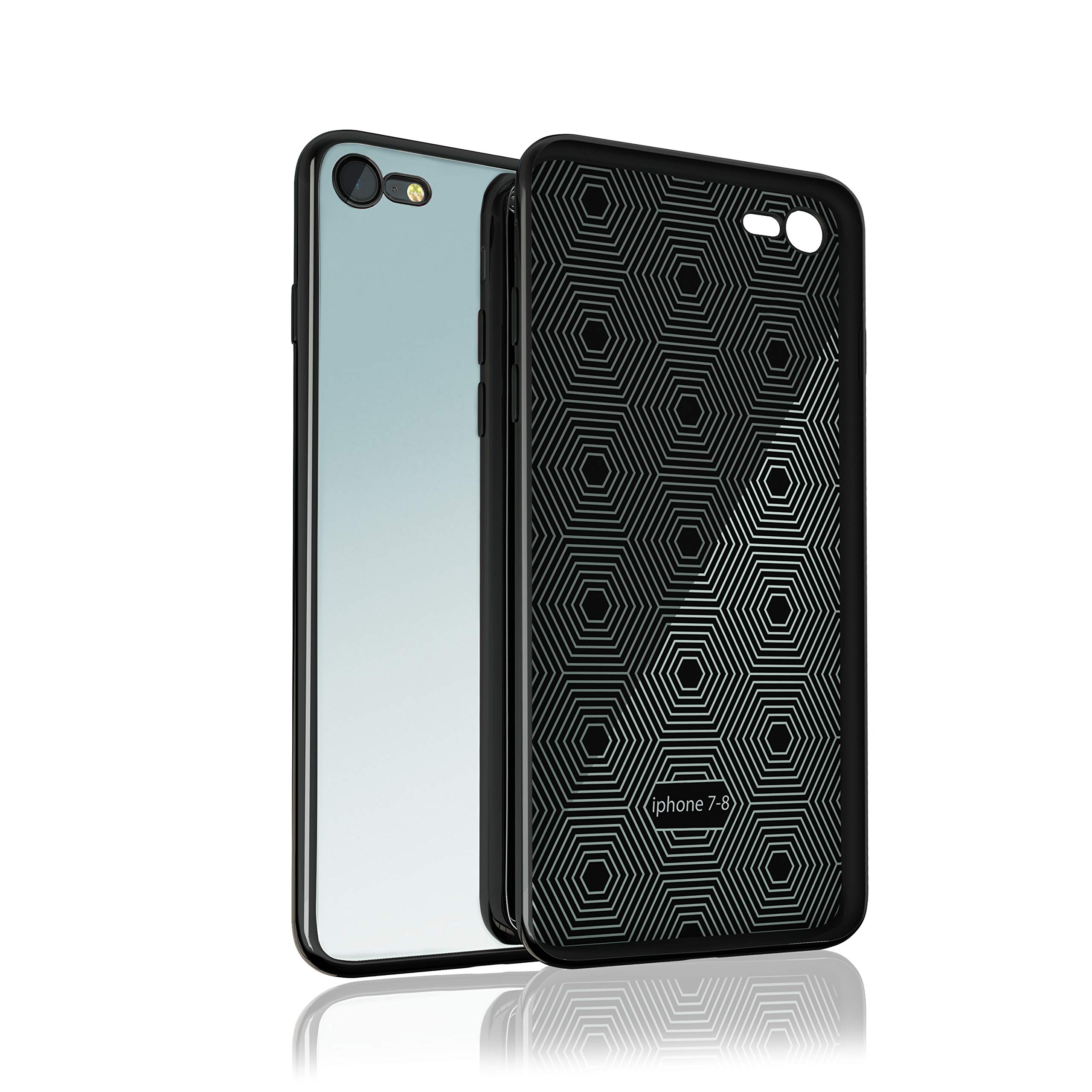 iPhone 7 / iPhone 8 Mirror Case with Anti-Scratch 9H Tempered Glass and Soft TPU Bumper, Shockproof, Wireless Charging Compatible - for iPhone 7 / iPhone 8 - Black