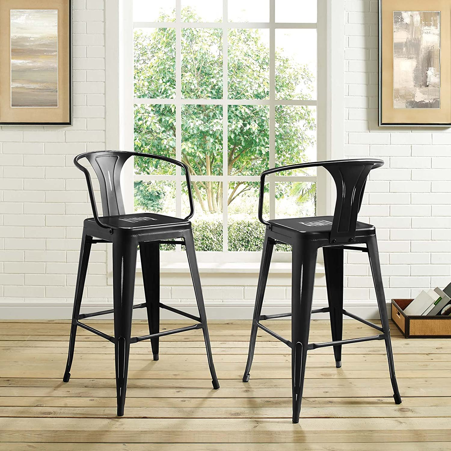 Modway Promenade Industrial Modern Aluminum Bistro Bar Stool with Arms in Black