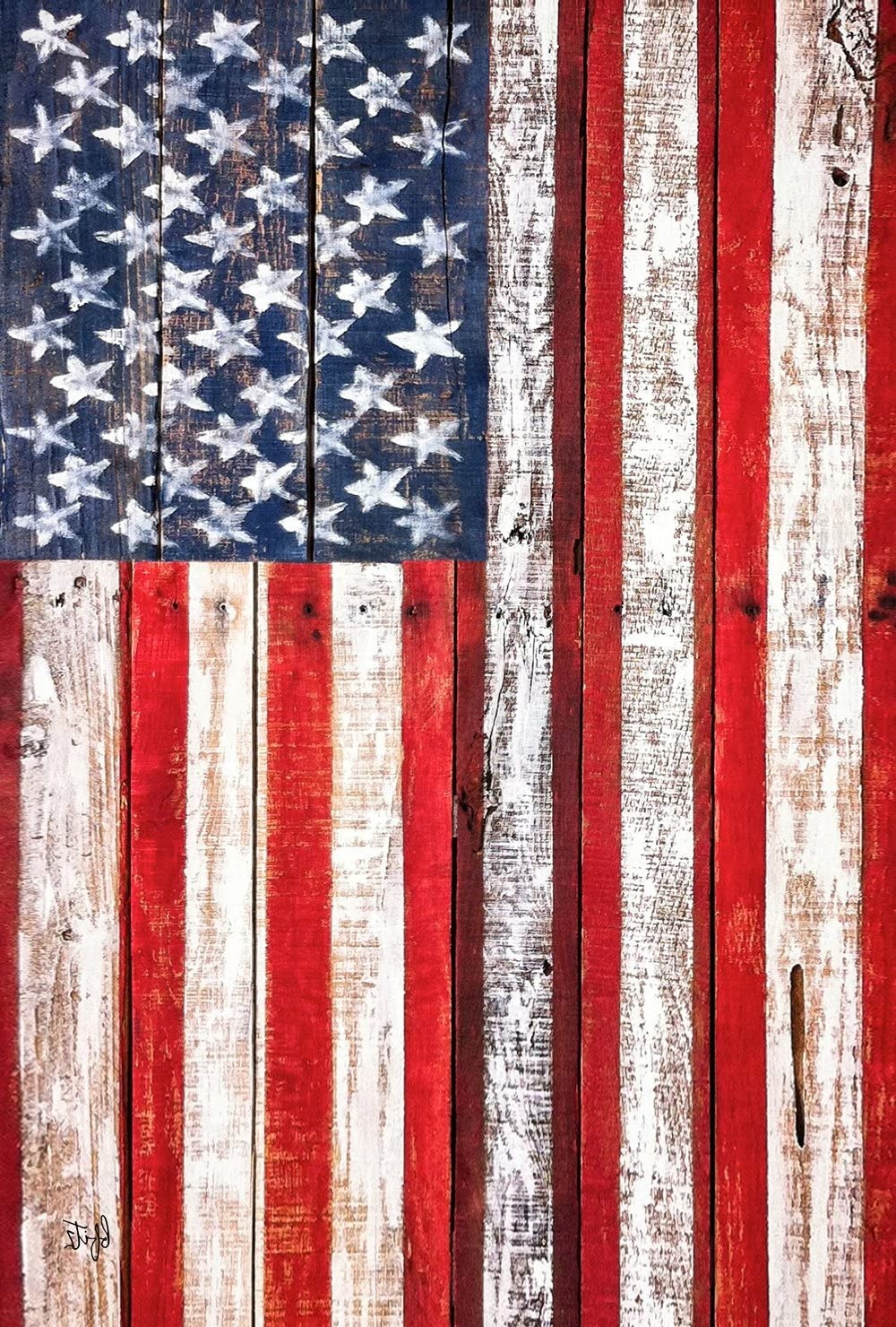Toland Home Garden American Fence 12.5 x 18 Inch Decorative Rustic Patriotic USA Stars Stripes Garden Flag