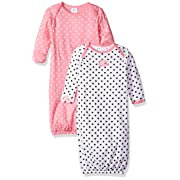 Gerber Baby Girls' 2-Pack Gown, Elephants/Flowers, 0-6 Months
