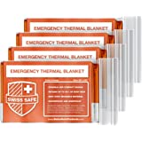 Emergency Mylar Thermal Blankets (4-Pack) + Bonus Signature Gold Foil Space Blanket: Designed for Outdoors, Hiking, Survival,