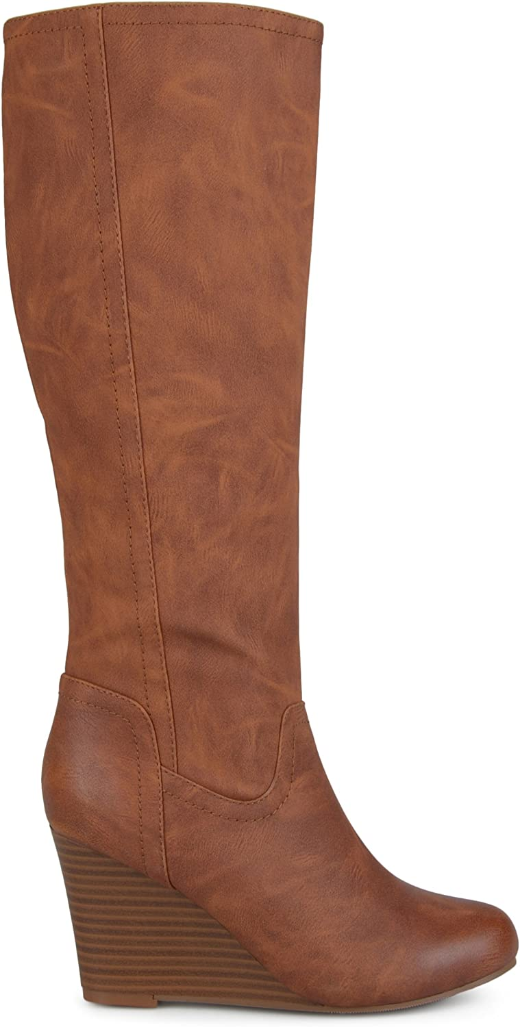 Brinley Co. Womens Regular and Wide Calf Round Toe Faux Leather Mid-Calf Wedge Boots