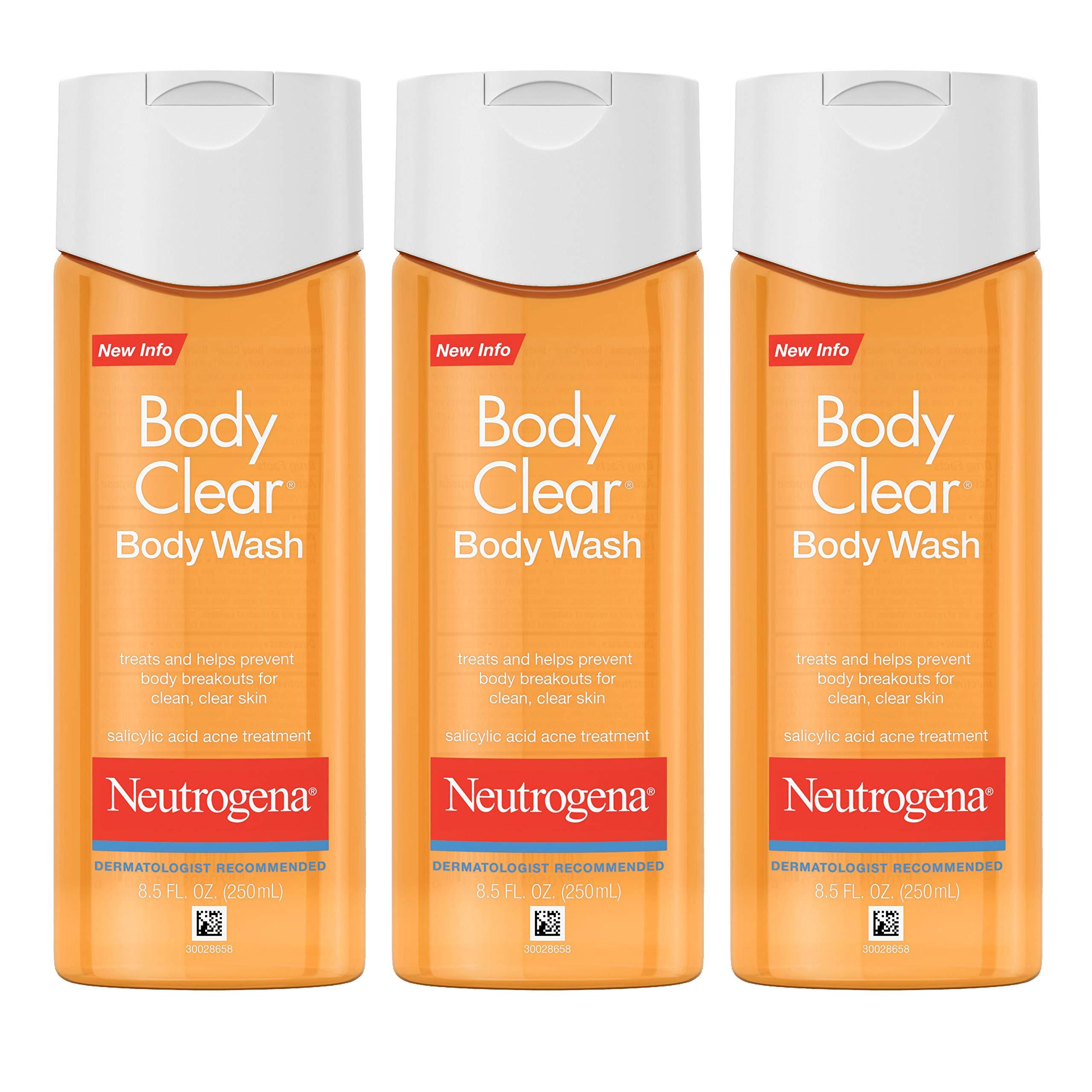 Neutrogena Body Clear Acne Body Wash with Glycerin & Salicylic Acid Acne Medicine for Acne-Prone Skin, Non-Comedogenic, 8.5 fl. oz (Pack of 6) by Neutrogena (Image #1)