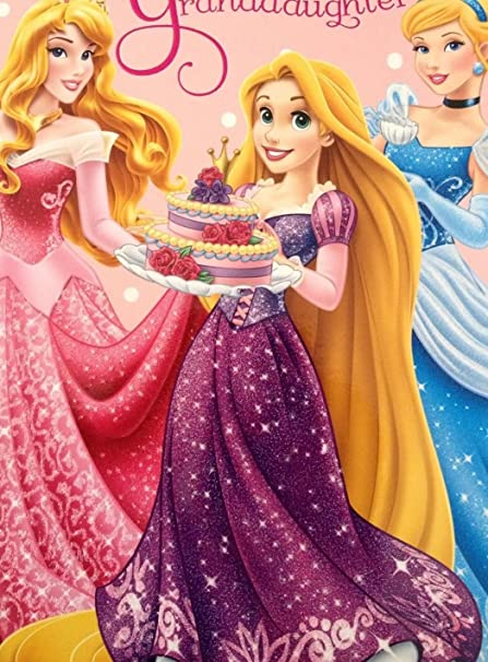 Princesas Disney nieta Tarjeta de cumpleaños 419022: Amazon ...