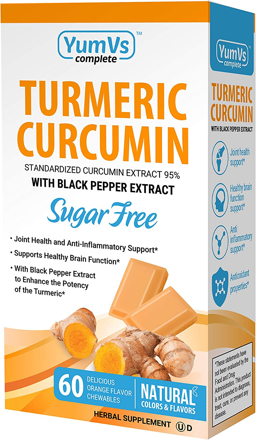 YumVs Complete Turmeric Curcumin Supplements, Sugar-Free Orange Flavored Chewable Chocolates for Men and Women (60 Ct); Kosher, Halal, Gluten-Free