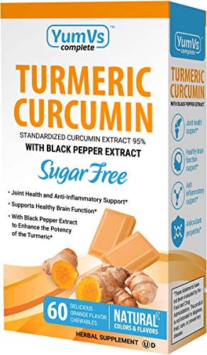 YumVs Complete Turmeric Curcumin Supplements, Sugar-Free Orange Flavored Chewable Chocolates for Men and Women 60 Ct Kosher, Halal, Gluten-Free