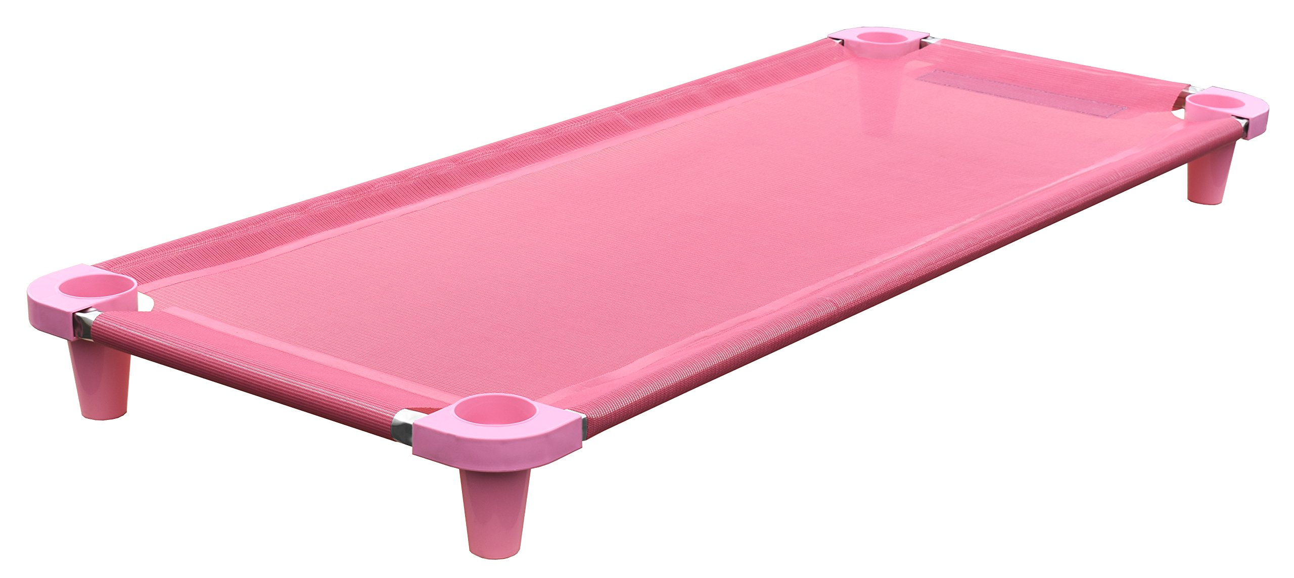 Acrimet Premium Stackable Nap Cot (Stainless Steel Tubes) (Pink) (1 Unit)