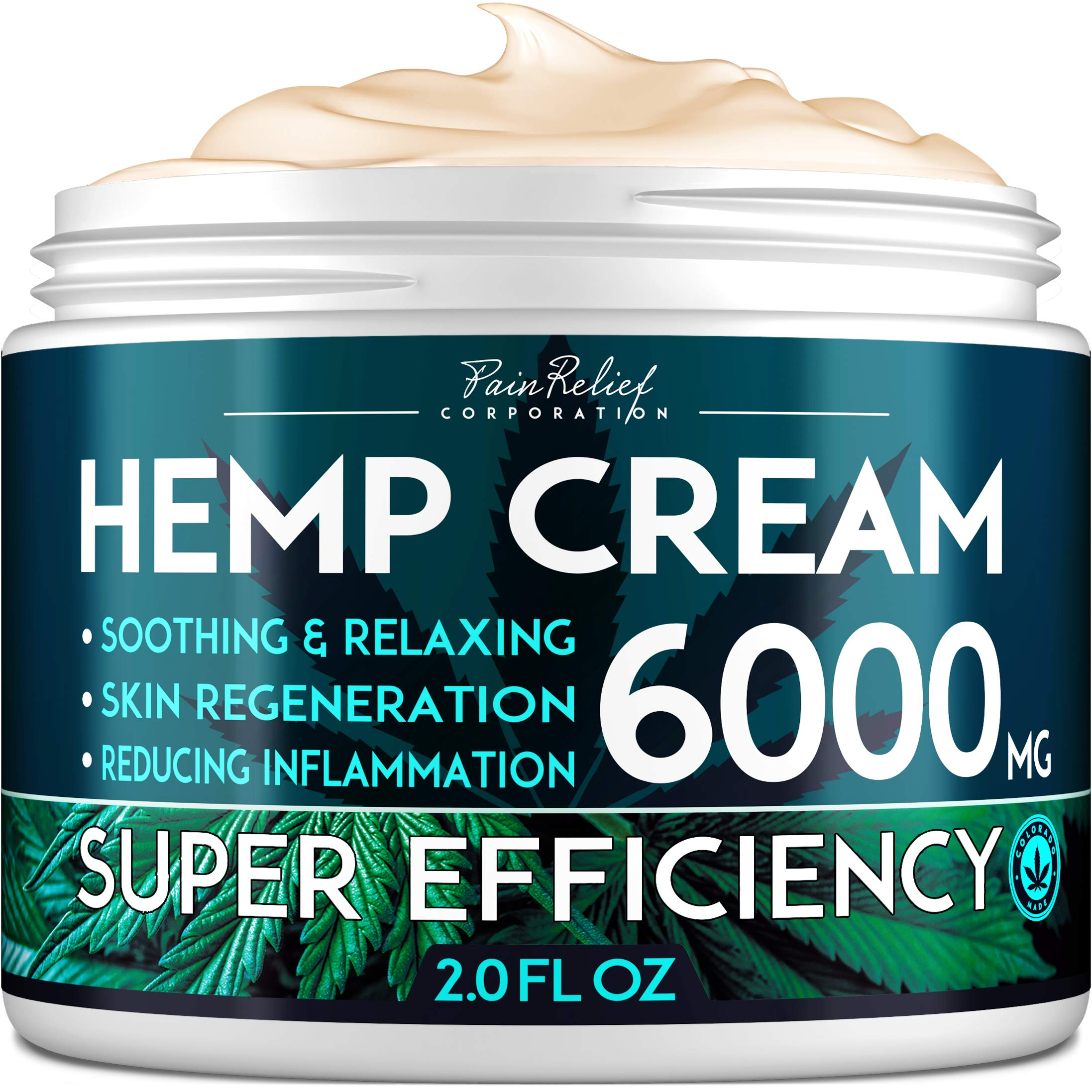 Hemp Pain Relief Cream (6000 Mg) - Natural Hemp Extract Cream for Arthritis, Back Pain & Muscle Pain Relief - Efficient Inflammation Cream & Carpal Tunnel Relief - Made in USA - Good for Skin Health by Pain Relief Inc.