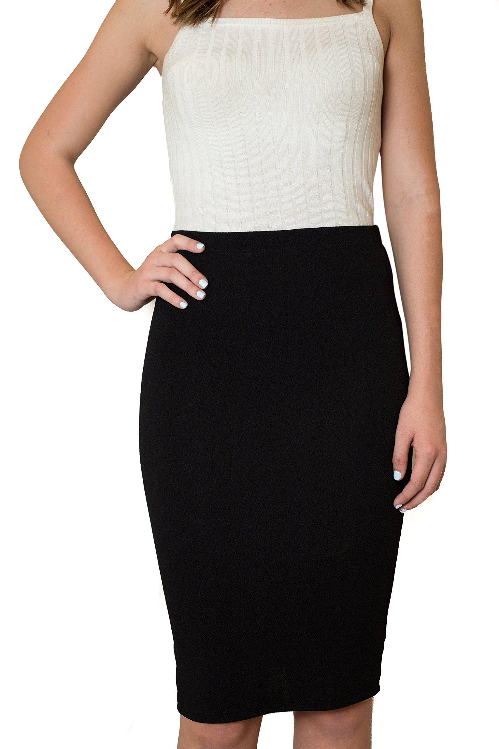 CALDORE USA High Waisted Midi Pencil Skirts - Women (Junior Ladies) Knee Length Dress Wear (Small, Black)