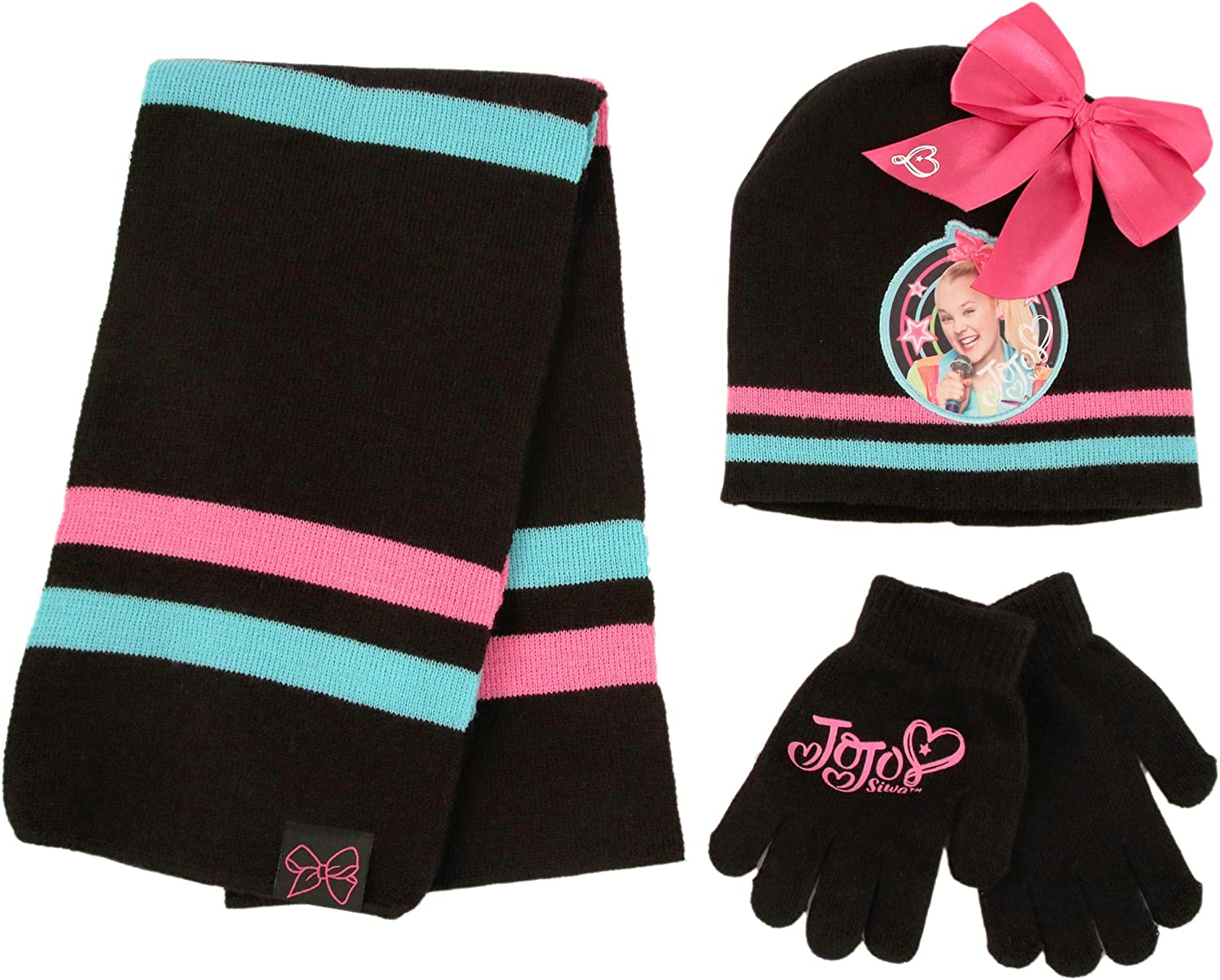 Nickelodeon JoJo Hat, Scarf and Gloves Cold Weather Set, Black, Girls, Ages 4-7: Clothing