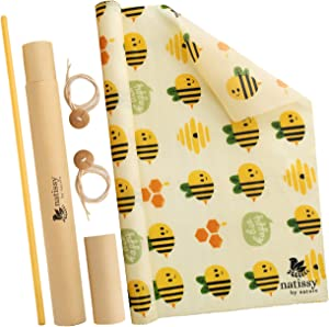 Beeswax Food Wraps, 39″ Roll of Reusable Organic Waxed Storage Cloth, Sustainable Plastic Free Bowl Cover & Eco-Friendly Sandwich Wrapper, Zero Waste Cling Film Alternative for Cheese, Fruits, Bread