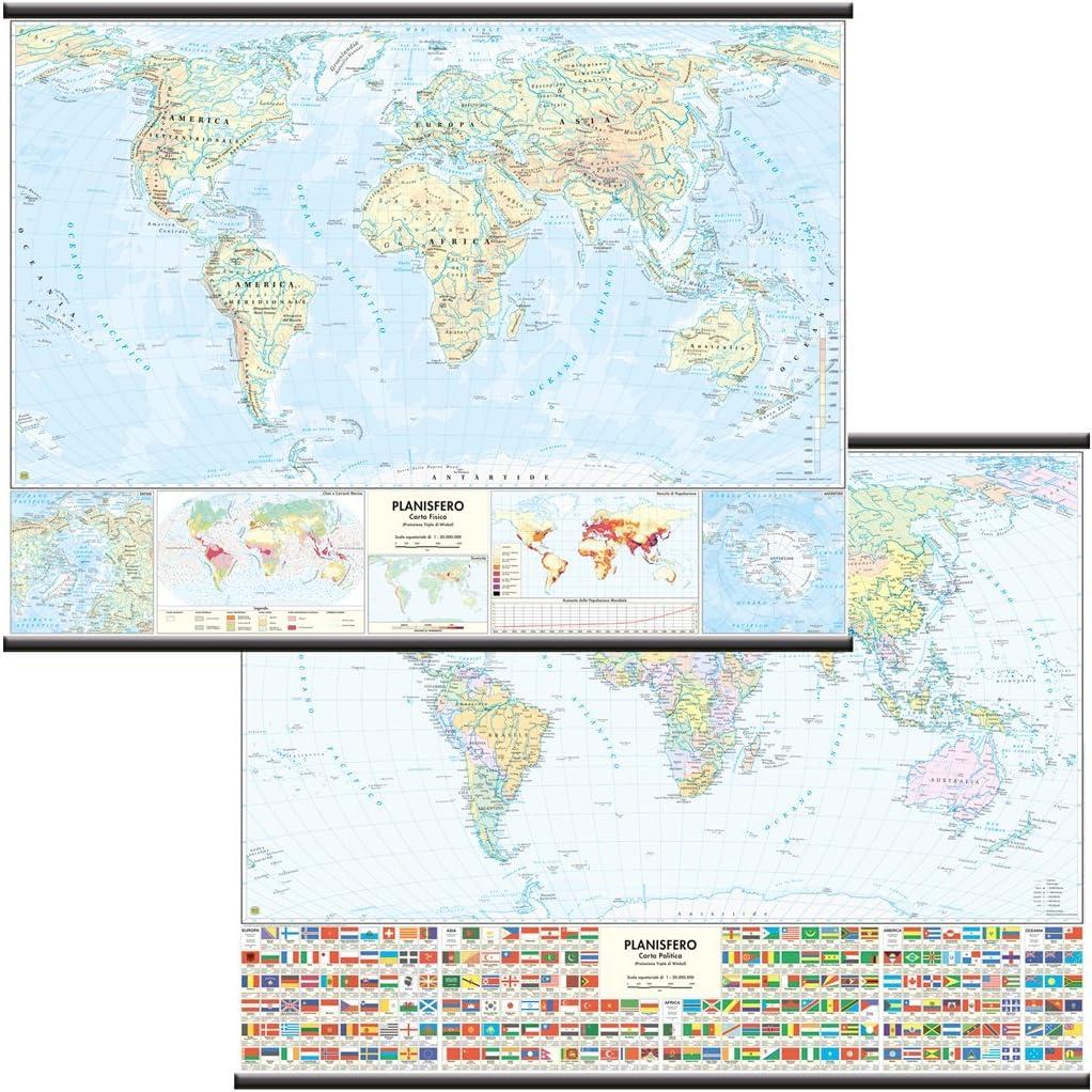 Mundo Papel Mural escolar bifacciale [físico/político] [132 x 99 cm] Belletti: Amazon.es: Oficina y papelería