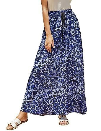 e99c8999817dd4 Imysty Womens Leopard Print Long Skirts Drawstring High Waisted Bohemian Maxi  Skirt Blue
