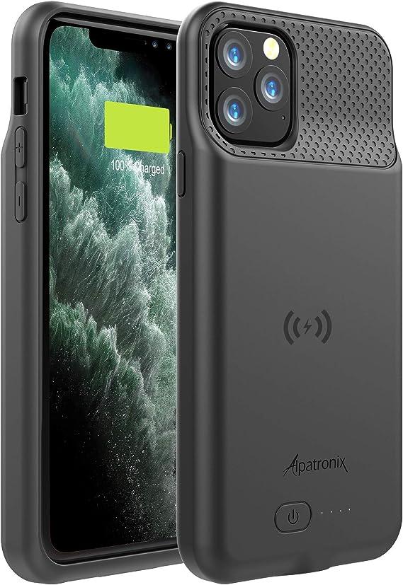 Coque de batterie pour iPhone 11 Pro Max (6,5 pouces), 5000 mAh Slim Portable Chargeur étendu avec charge sans fil Qi Compatible avec Lightning Audio ...