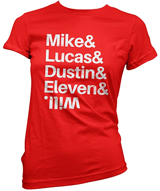 LaMAGLIERIA Camiseta Mujer Mike & Lucas & Dustin & Will - Stranger Things Camiseta 100%