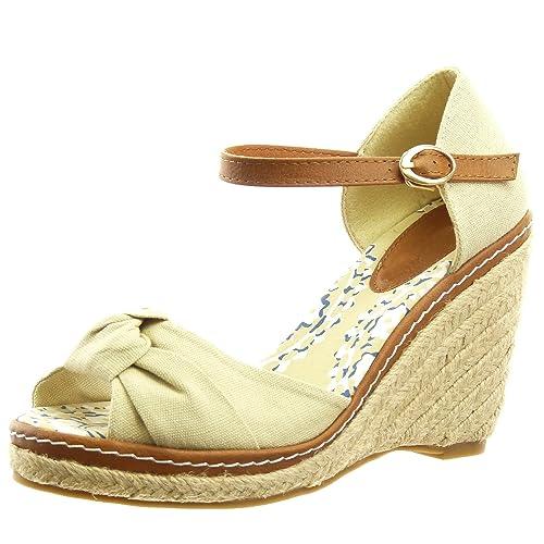 Sopily - Zapatillas de Moda alpargatas Sandalias Caña baja mujer nodo Hebilla Talón Plataforma 10 CM - Beige FRF3-AF-30 T 41: Amazon.es: Zapatos y ...