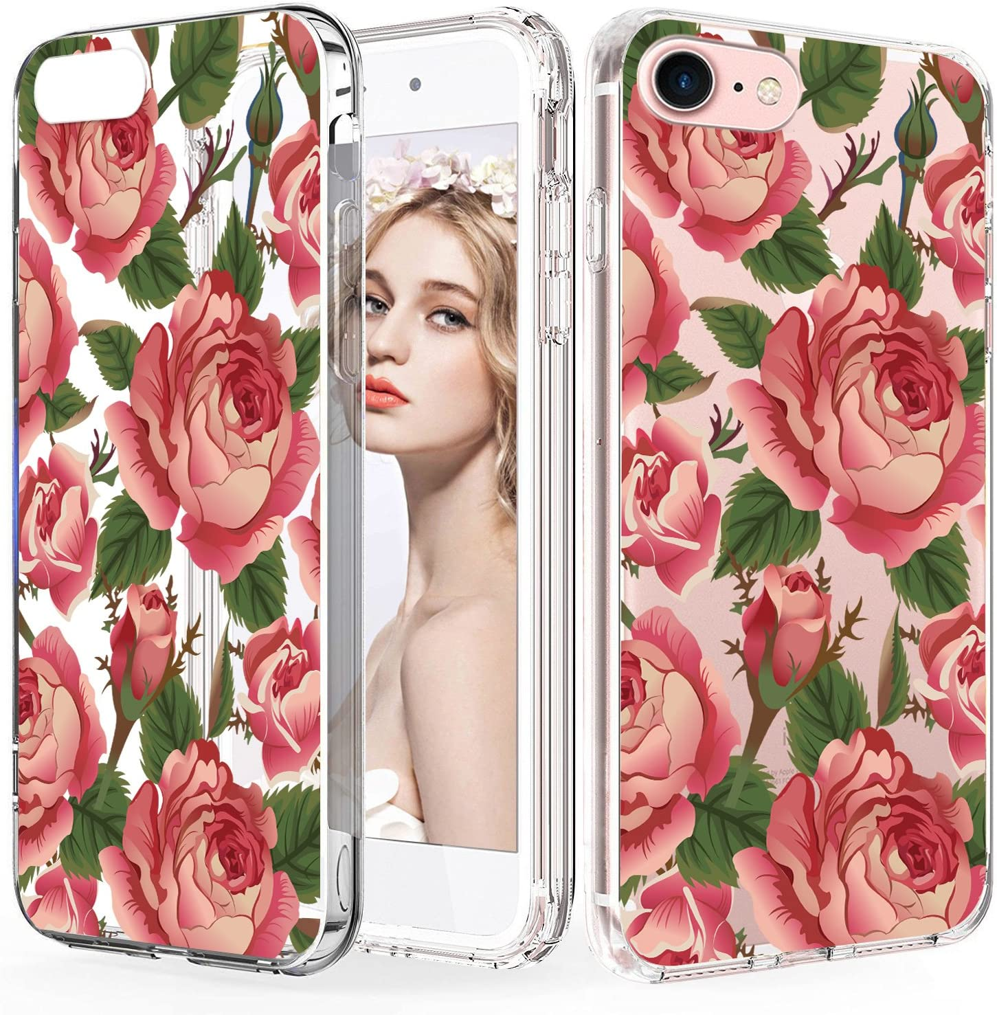Imikoko iPhone 7 Case, iPhone 8 Case, iPhone SE 2020 Case, Flower Cute Pattern Protective Case Hard PC Back Case with Durable TPU Gel Bumper for iPhone 7/8/ SE 2020