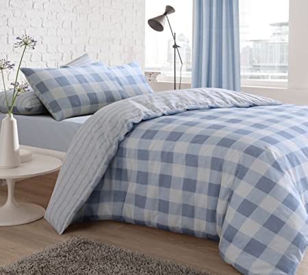 Blue//White Stylish Luxury Check Design Duvet Cover Bedding Set with Pillowcases