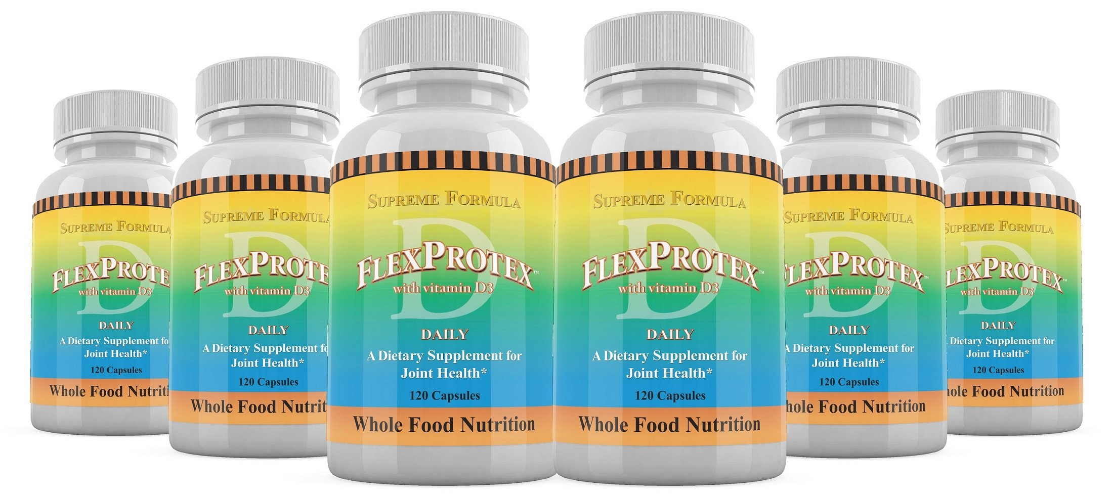 Flex Protex D FlexProtex-D Joint Support - 6 BOTTLES (120 caps in each bottle) - As Seen On TV! by FlexProtex-D