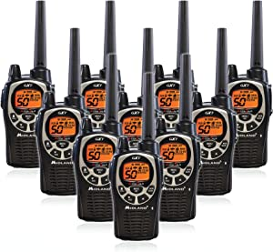 Midland GXT1000VP4 50 Channel GMRS Two-Way Radio - Up to 36 Mile Range Walkie Talkie - Black/Silver (10 Pack)
