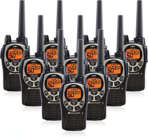 Midland GXT1000VP4 50 Channel GMRS Two-Way Radio – Up to 36 Mile Range Walkie Talkie – Black Silver 10 Pack