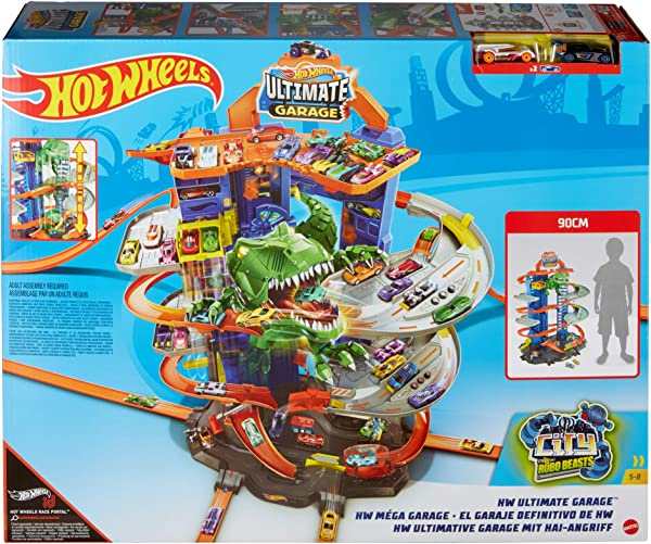 Hot Wheels City Robo T-Rex Ultimate Garage vehicle playset for kids in package