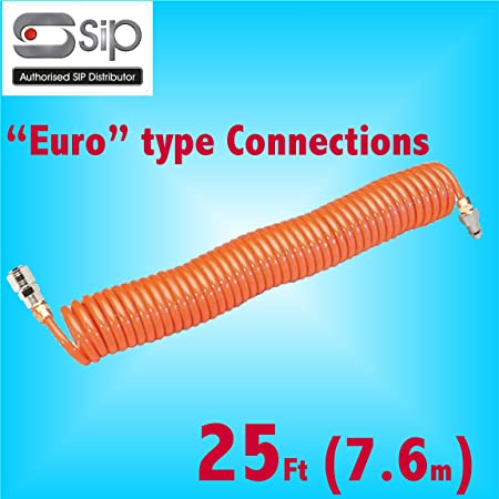 SIP 5 Metre Coiled Air Hose withPCL Type Quick Release Fittings Lightweight Nylon air line Compressor Tool