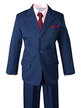 3de0d3f3d5628 Spring Notion Boys' Pinstripe Blue Suit with Knit Tie and Satin  Handkerchief 2T Pink-
