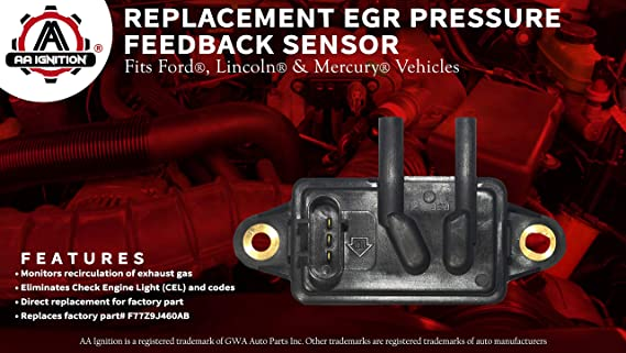 EGR - Exhaust Gas Recirculation Pressure Feedback Sensor - Replaces DPFE15,  F77Z9J460AB, F77Z9J460AB, F7UE9J460AA, VP8T - Fits Ford Expedition,