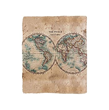 Amazon vroselv custom blanket earth tones collection old world vroselv custom blanket earth tones collection old world map from 1800s for geography and history soft gumiabroncs Choice Image