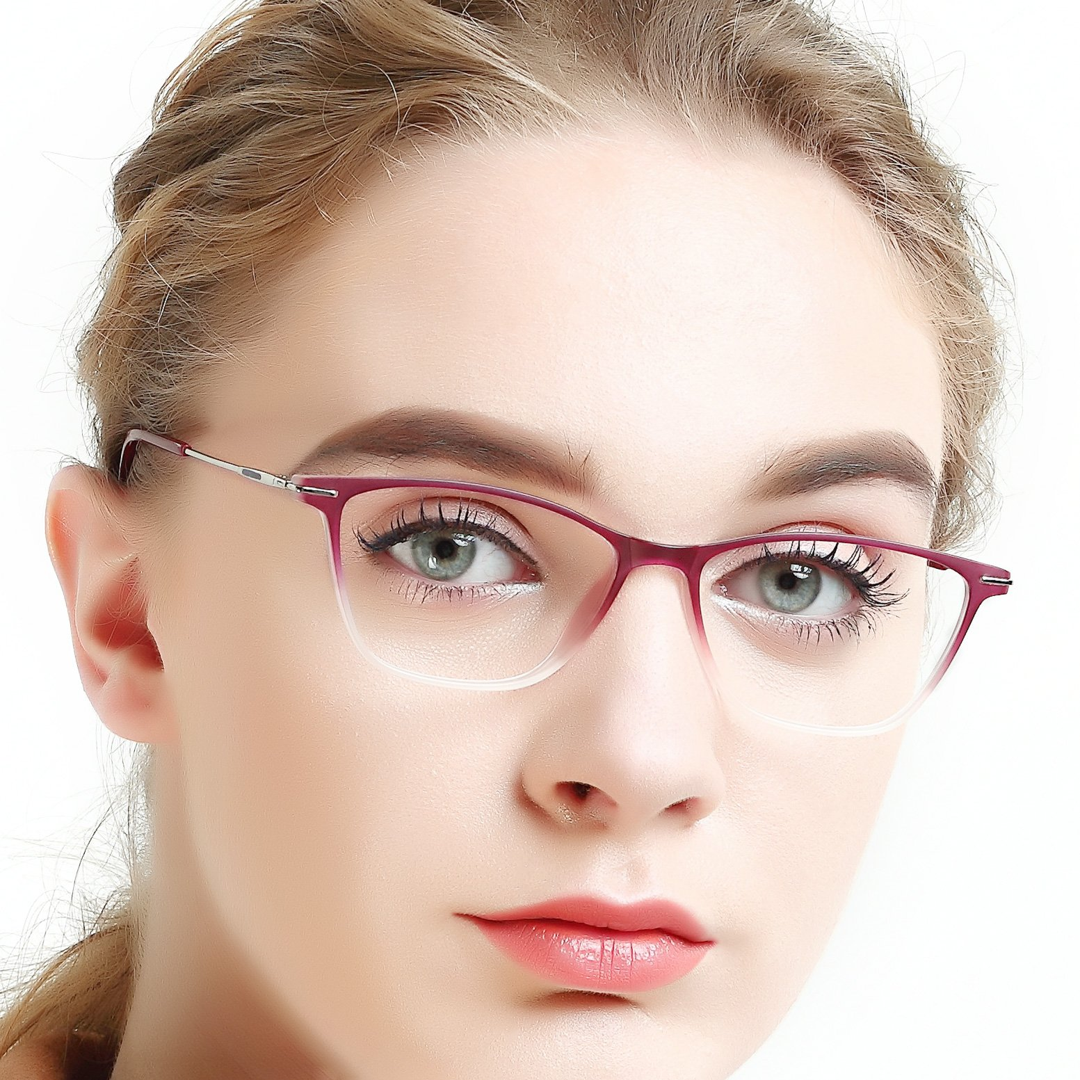 Eyewear Frames-OCCI CHIARI-Rectangle Lightweight Non-Prescription Eyeglasses Frame with Clear Lenses For Womens 52mm