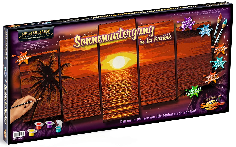 Schipper 609450728 Malen Nach Zahlen Sonnenuntergang In Der Karibik Polyptychon 132 X 72 Cm