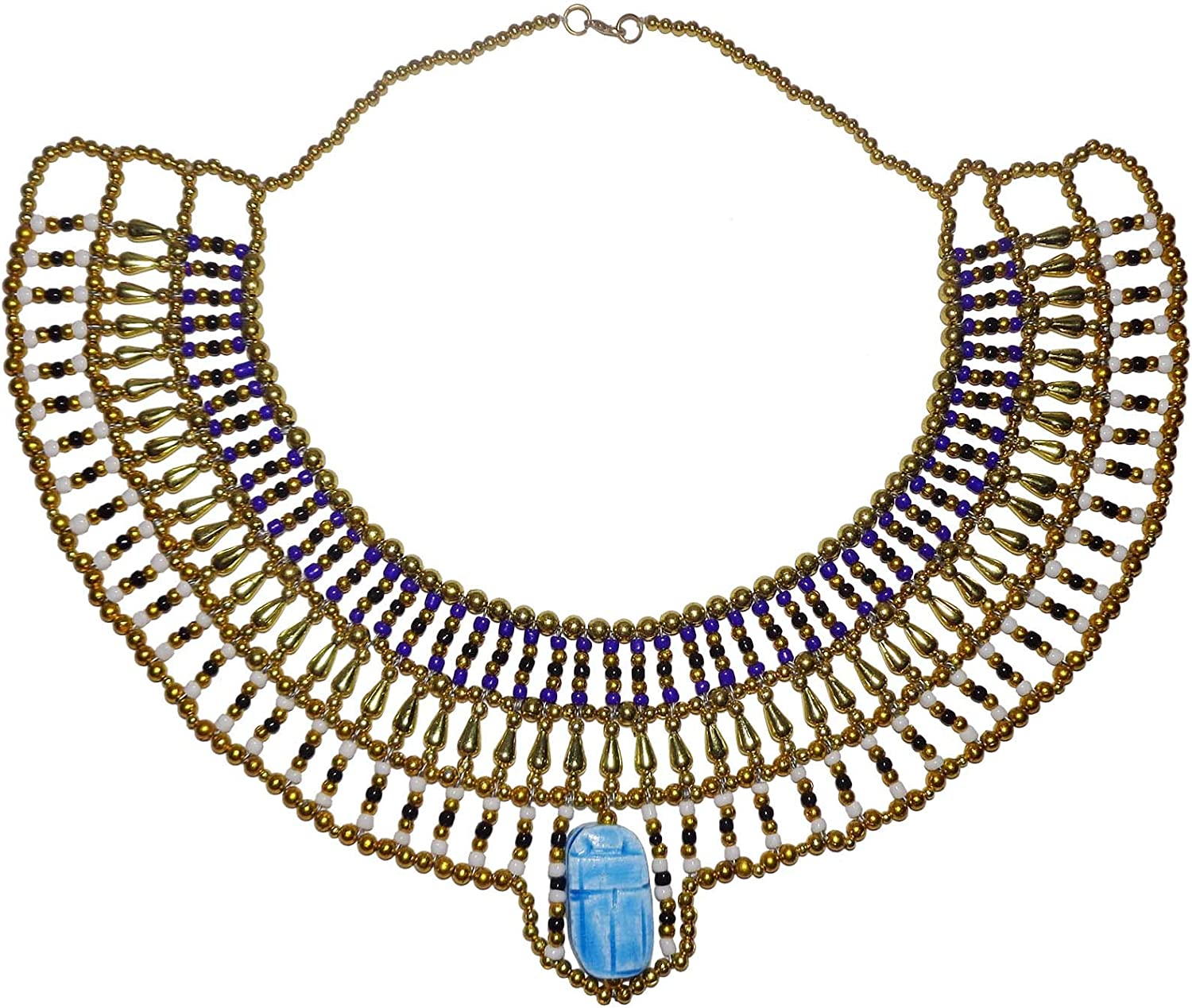 Egyptian Hand Made Multi Beaded Scarab Beetle Beads Cleopatra Nefertiti Queen 9.5 Necklace Collar Choker Pendant Christmas Halloween Ancient Egypt Pharaoh Costume Accessory Jewelry Belly Dance 234