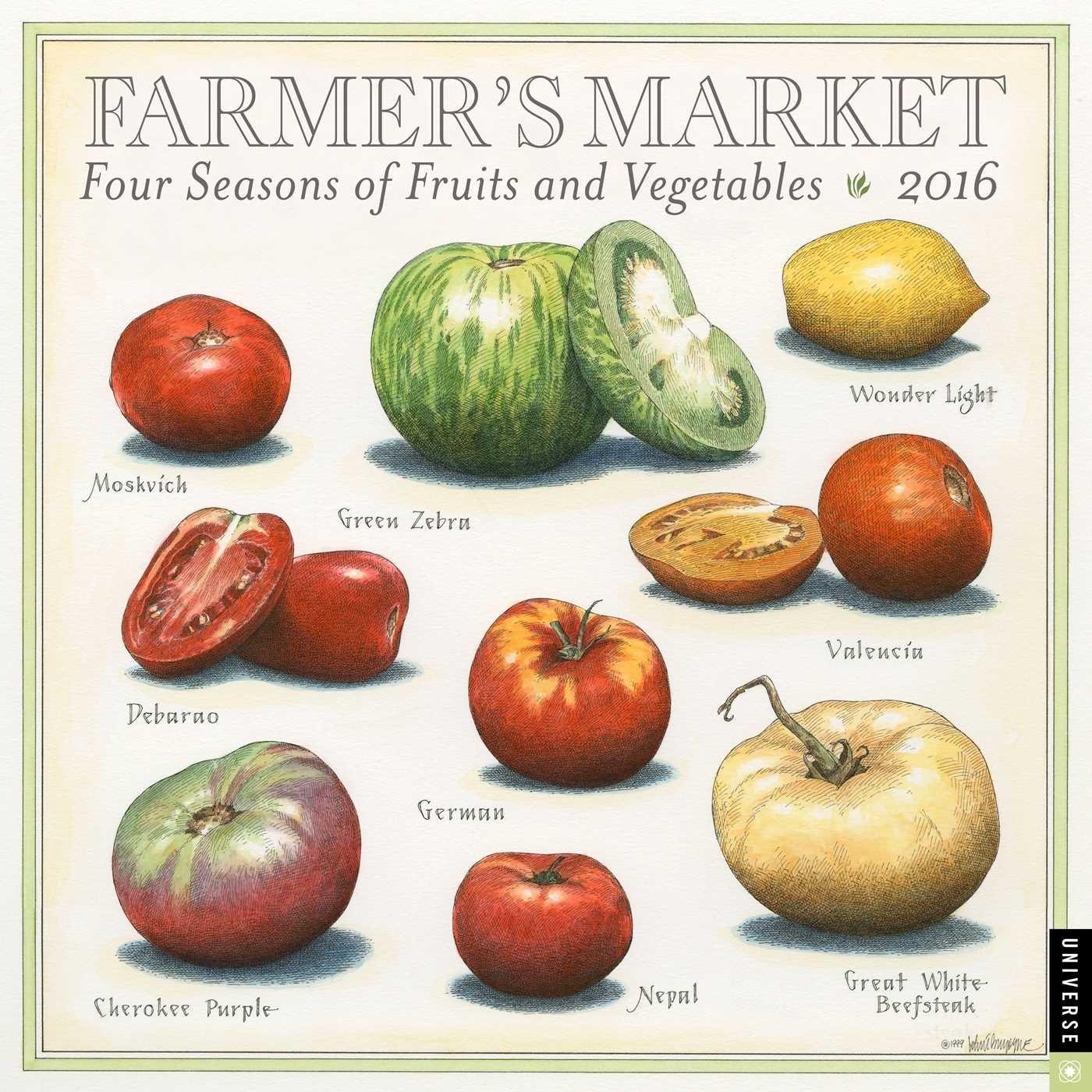 farmer u0027s market 2016 wall calendar four seasons of fruits and